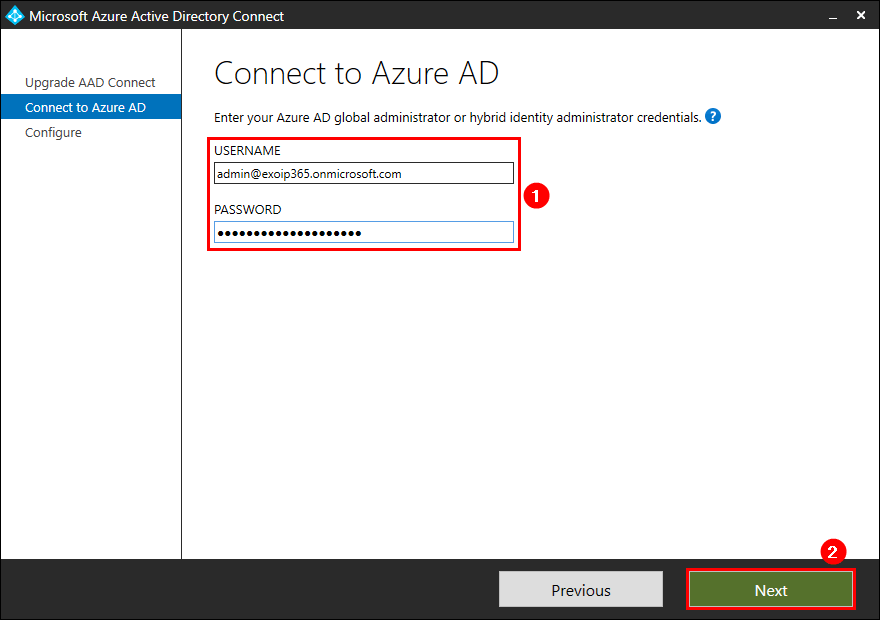 Upgrade Azure AD Connect enter global administrator credentials