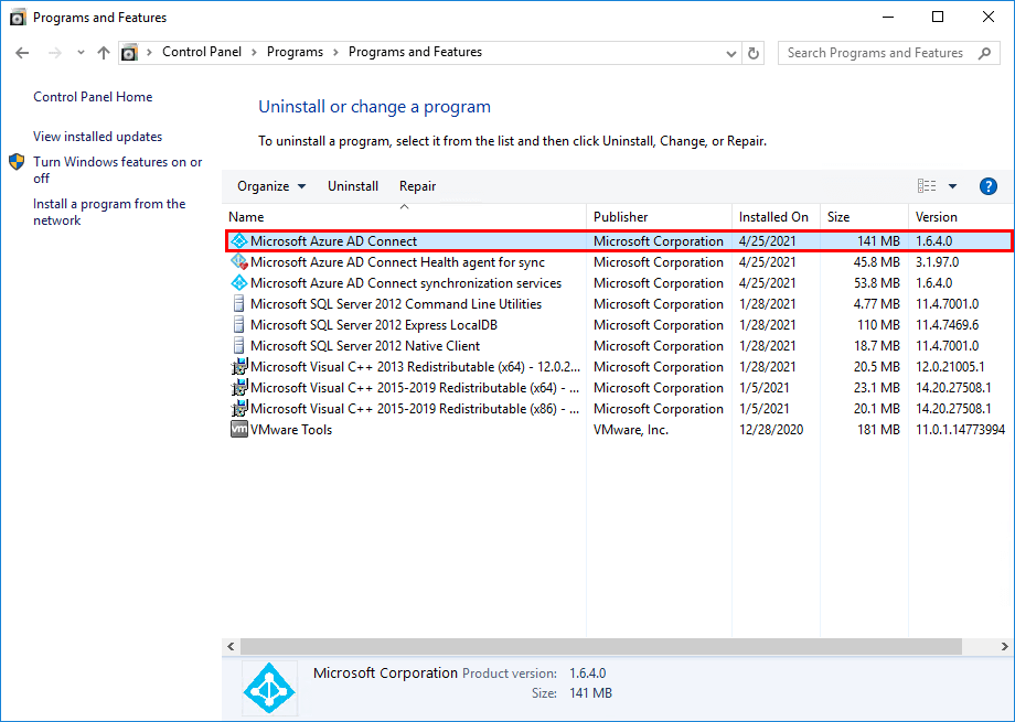 Verify version in Programs and features
