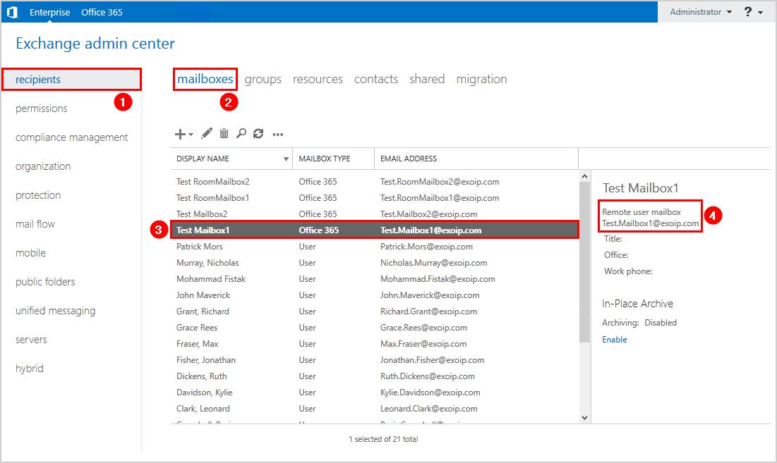 Convert user mailbox to shared mailbox in Exchange hybrid remote user mailbox.