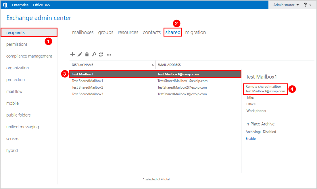 Convert user mailbox to shared mailbox in Exchange hybrid remote shared mailbox