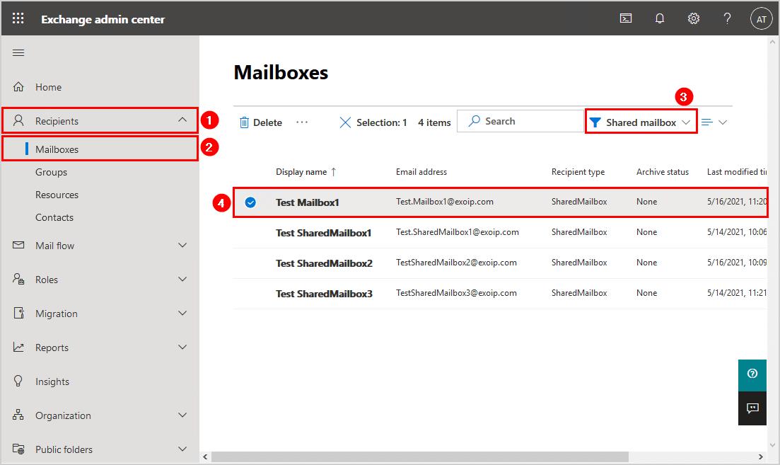 Convert user mailbox to shared mailbox in Exchange hybrid shared mailbox