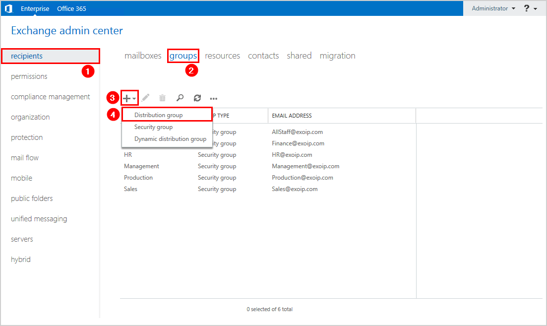 Create distribution group in Exchange hybrid exchange admin center