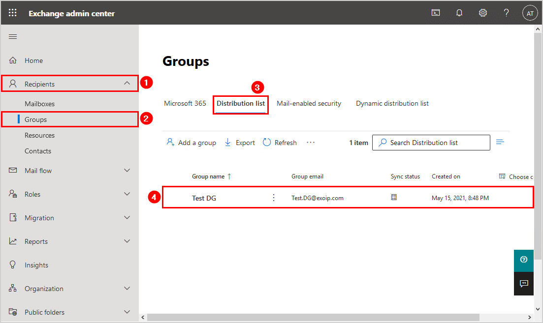Create distribution group in Exchange hybrid verify distribution group