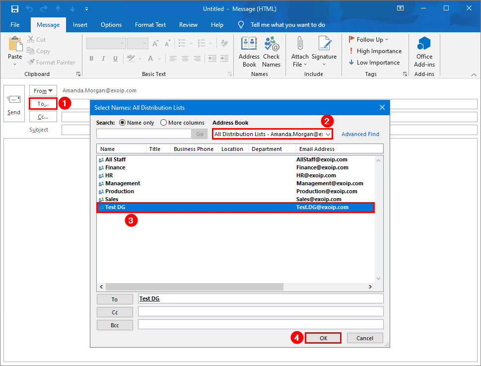 Create distribution group in Exchange hybrid select distribution group in Outlook