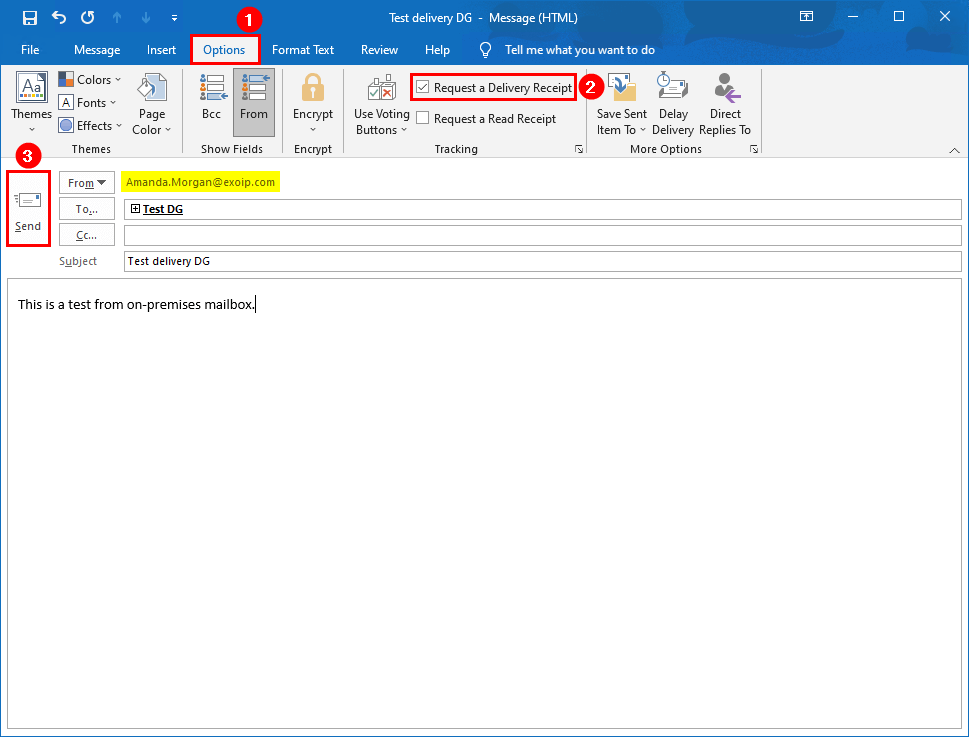 Create distribution group in Exchange hybrid send email to distribution group with request delivery receipt