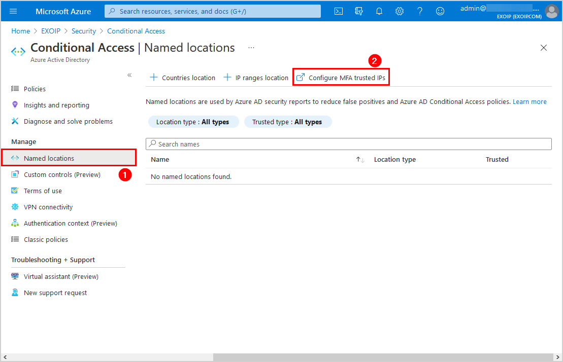 Named locations configure MFA trusted IPs