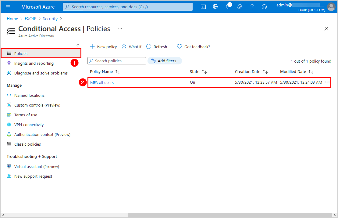 Edit MFA Conditional Access policy