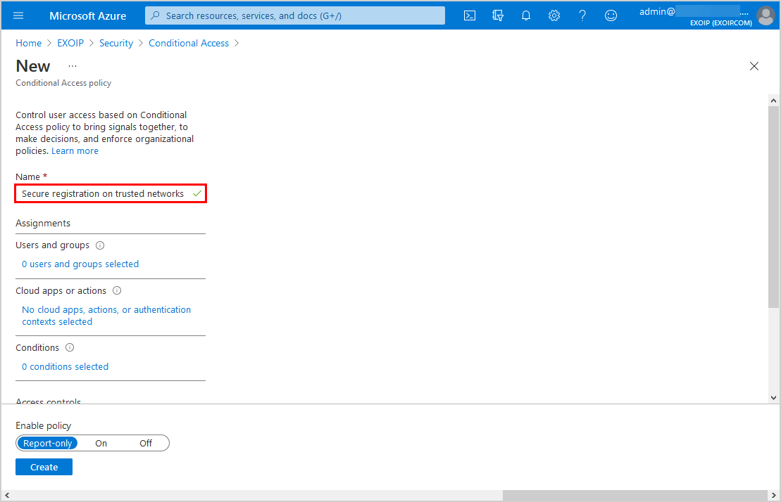 Secure MFA and SSPR registration Conditional Access name