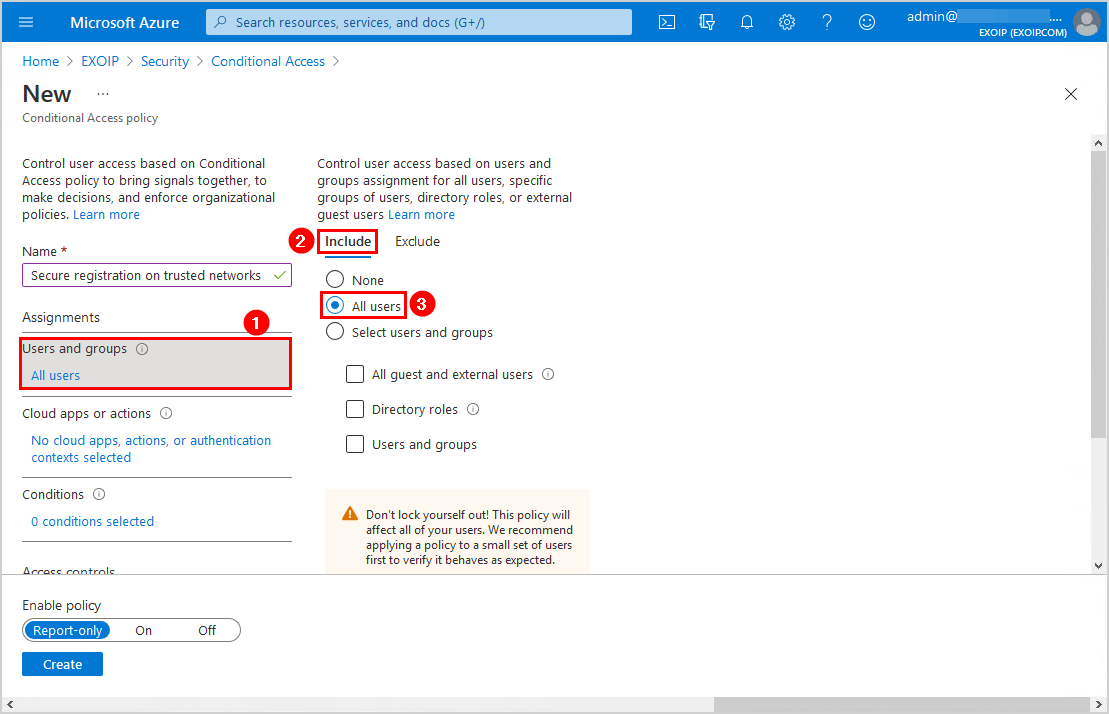 Secure MFA and SSPR registration Conditional Access Users and groups