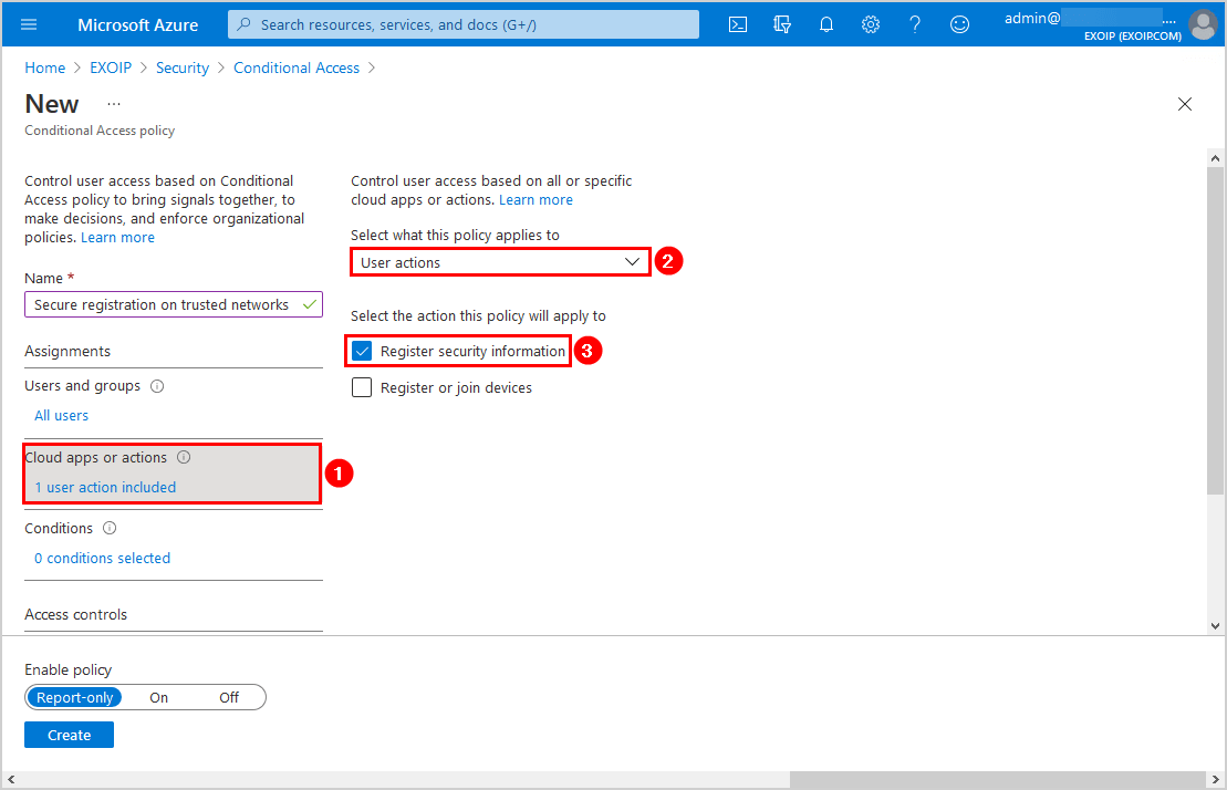 Secure MFA and SSPR registration Conditional Access Cloud apps or actions
