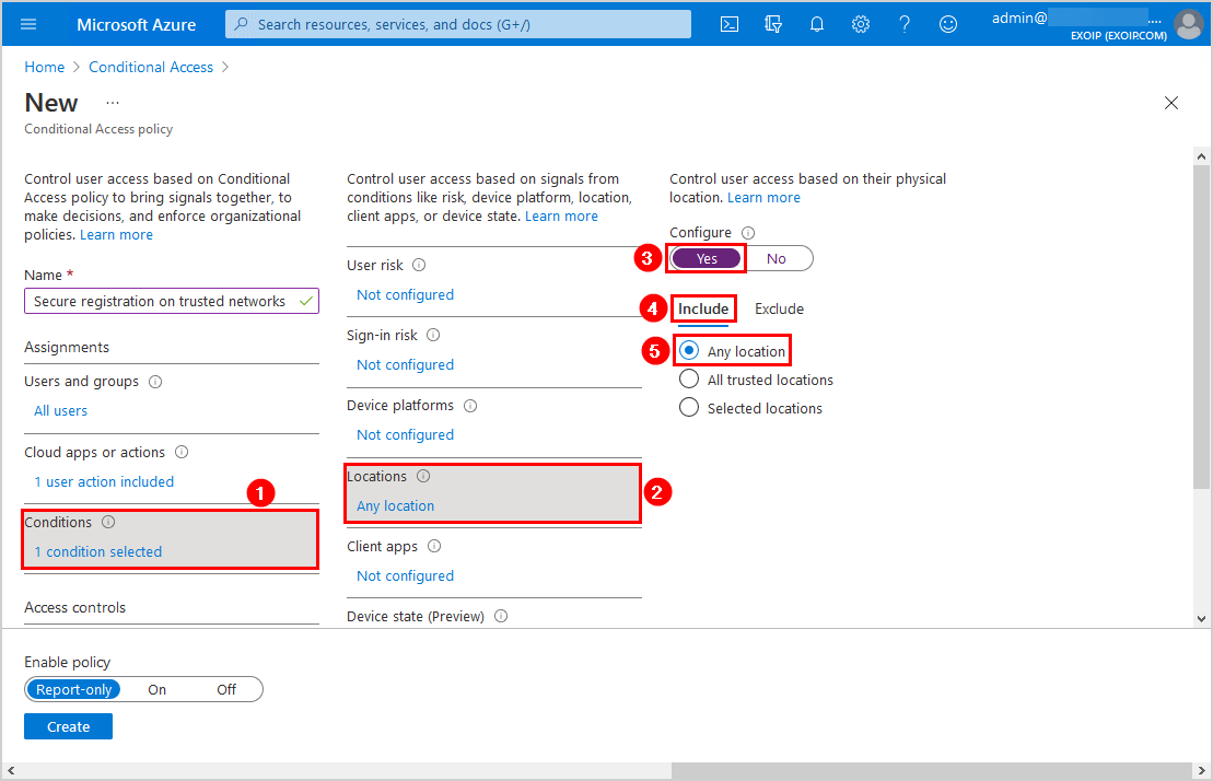 Secure MFA and SSPR registration Conditional Access Conditions