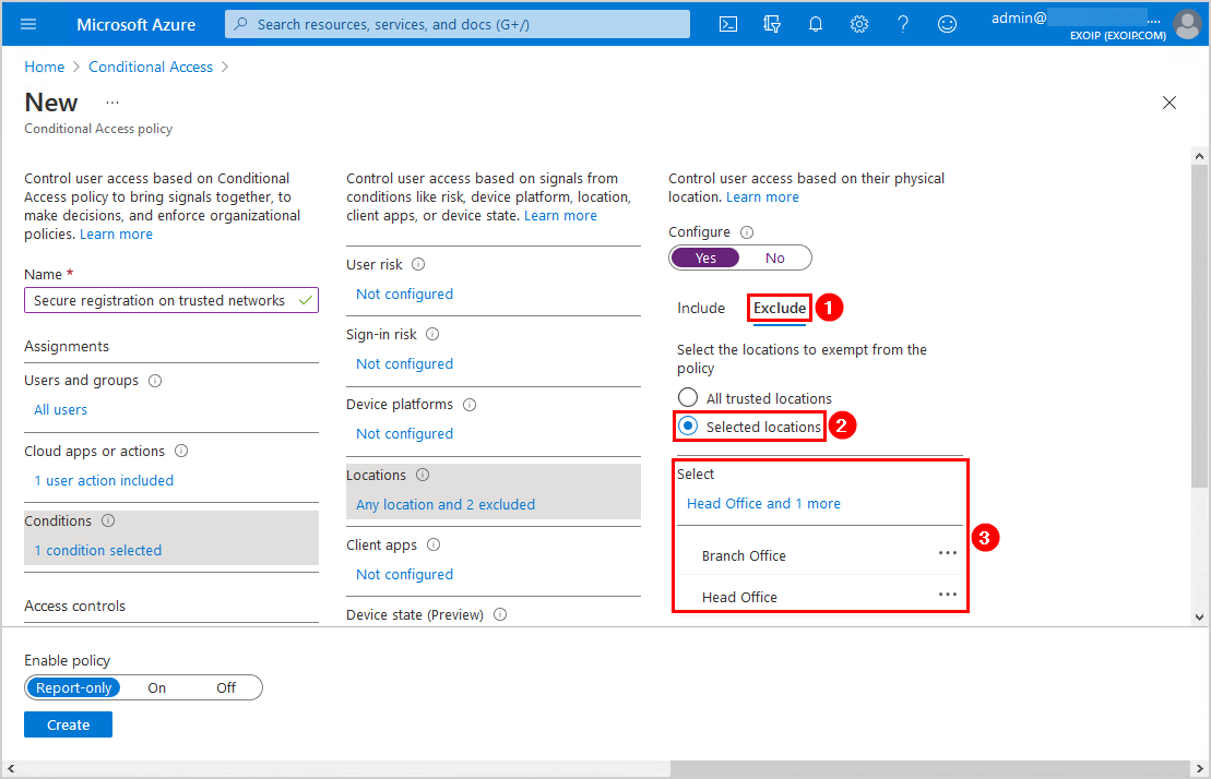 Secure MFA and SSPR registration Conditional Access Conditons selected locations