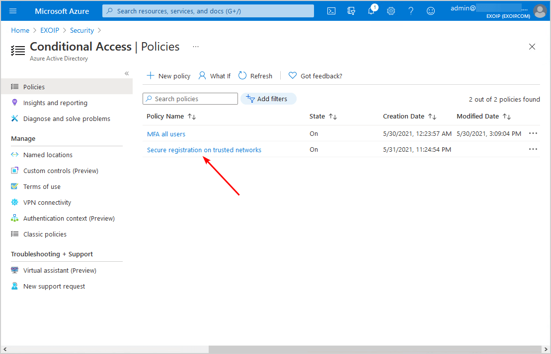 Secure MFA and SSPR registration Conditional Access policy list