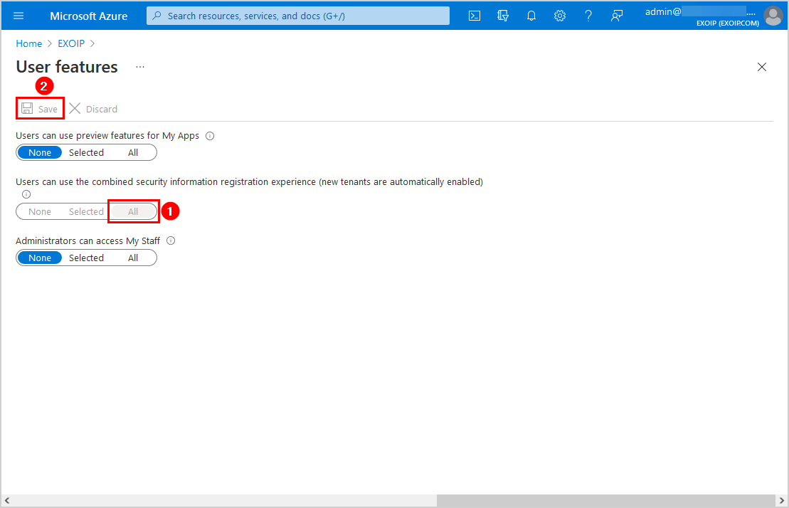 Enable combined security information registration experience