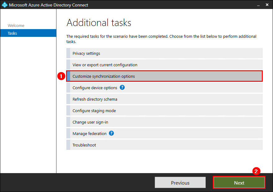 Azure AD Connect customize synchronization options