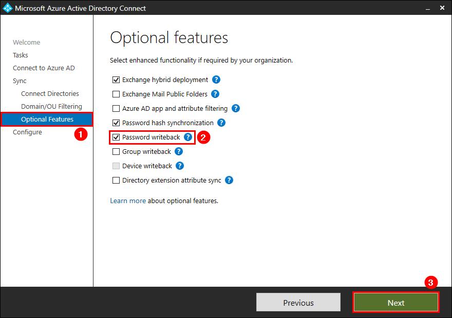 Azure AD Connect password writeback enable