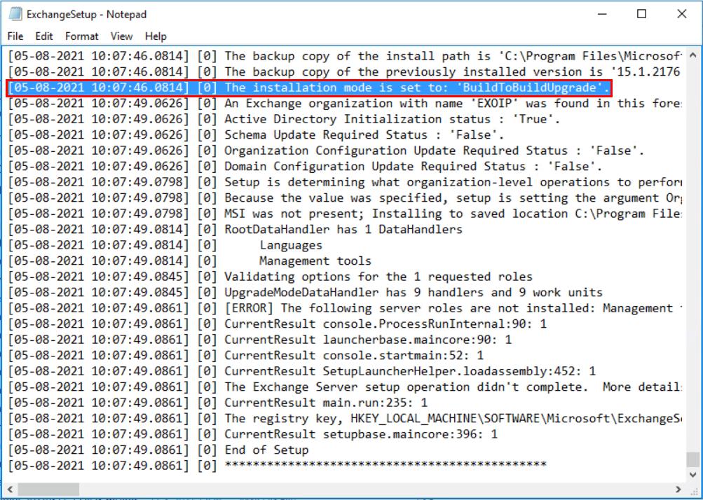 The installation mode is set to BuildToBuildUpgrade
