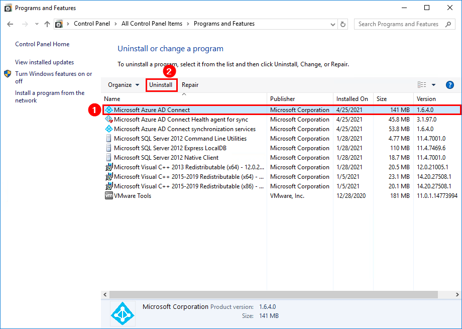 Uninstall Azure AD Connect programs and features
