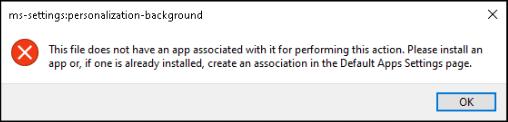 ms settings personalization background error