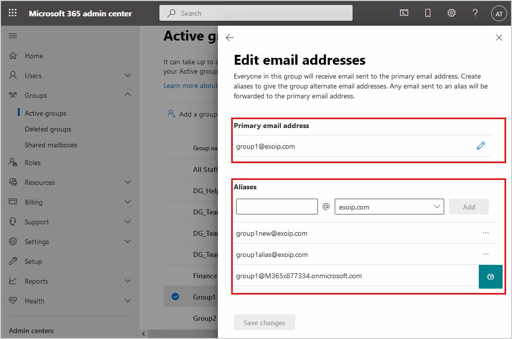 Edit email addresses