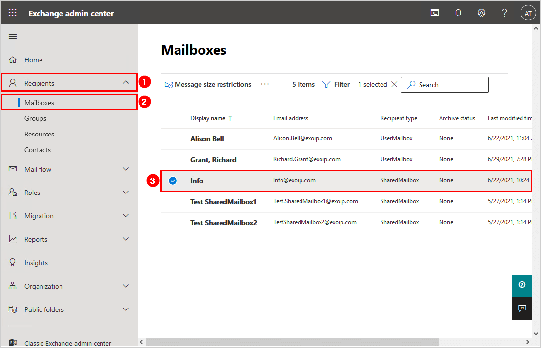 Mailbox type difference in Exchange hybrid shared mailbox