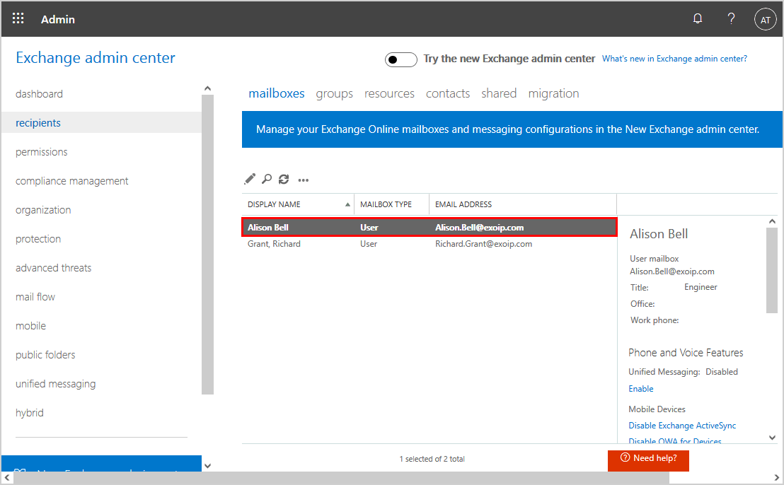 Office 365 mailbox not showing search mailbox cloud