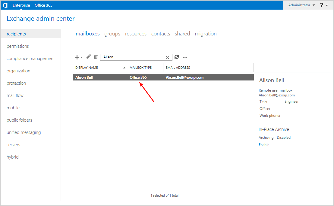 Office 365 mailbox not showing verify mailbox