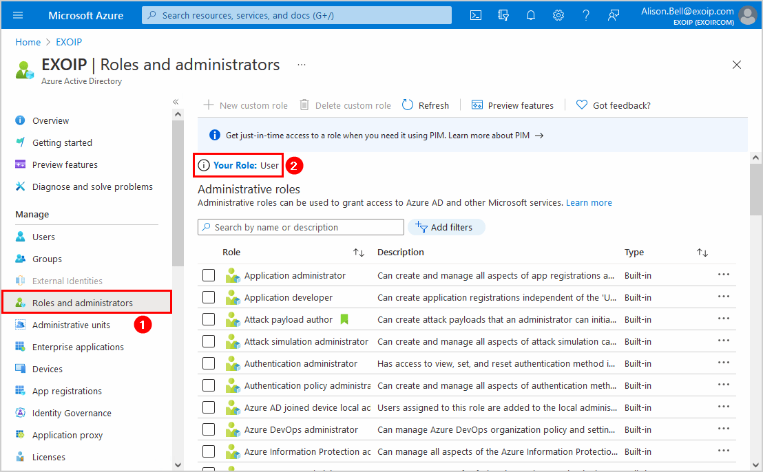 Restrict access to Azure AD administration portal Roles and administrators