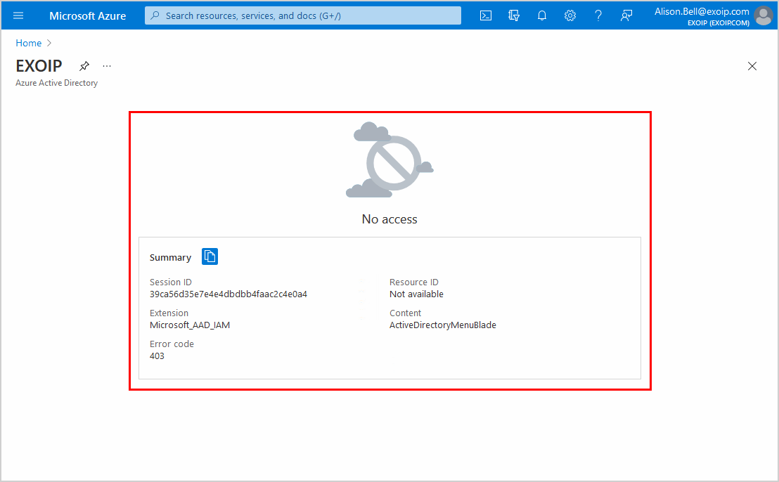 Restrict access to Azure AD administration portal no access