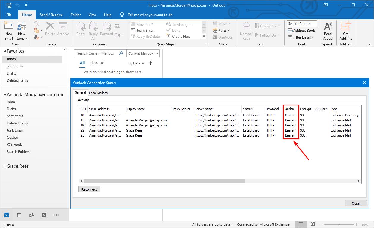 Hybrid modern authentication Outlook bearer