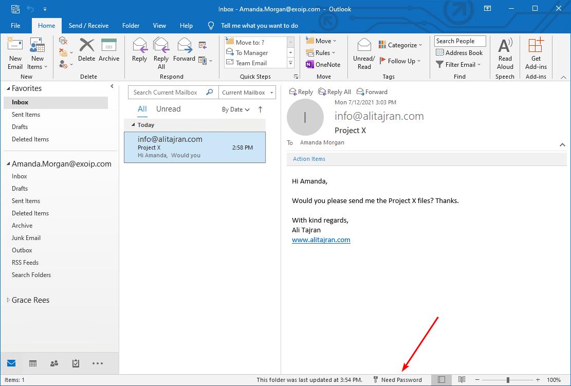 Outlook needs password before