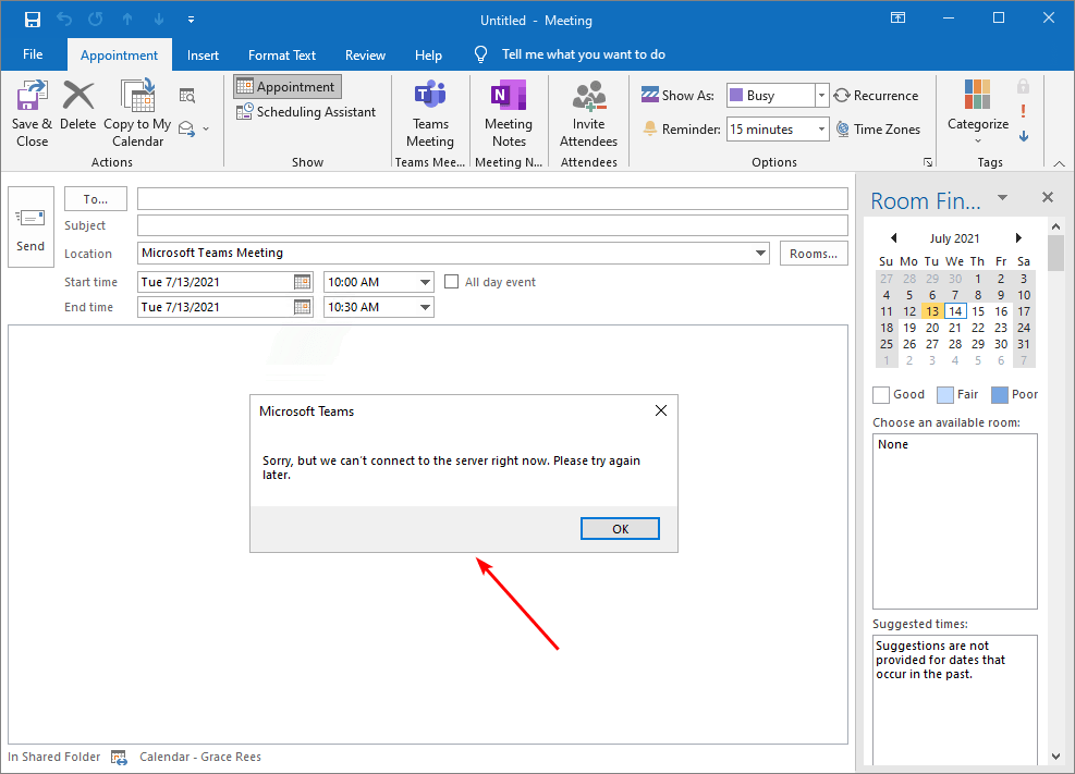 Microsoft Teams: Sorry, but we can't connect to the server right now. Please try again later.