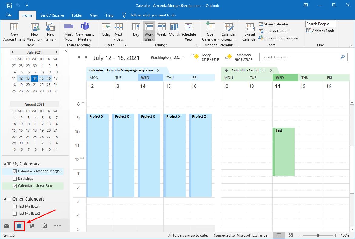 Open calendar in Outlook