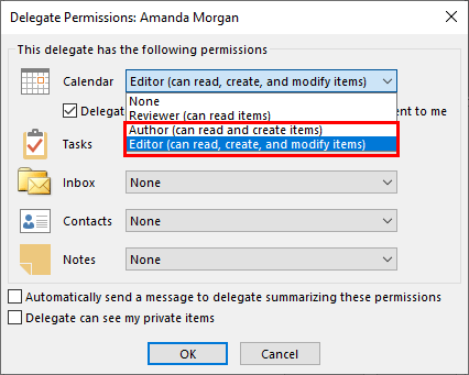 Select delegate permissions Author or Editor