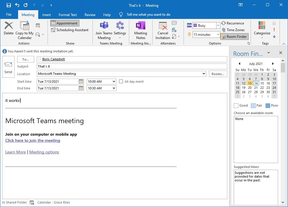 Microsoft Teams meeting link in Outlook