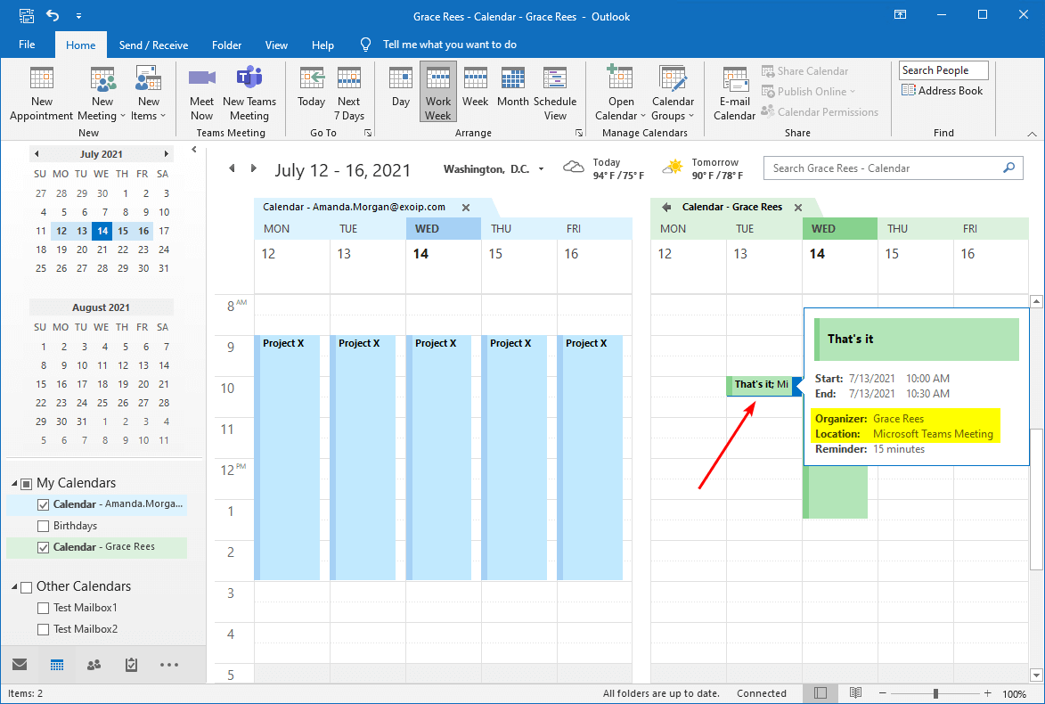 Teams meeting in Outlook calendar