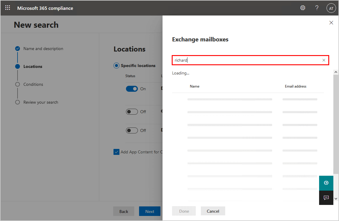 Search for Exchange mailbox