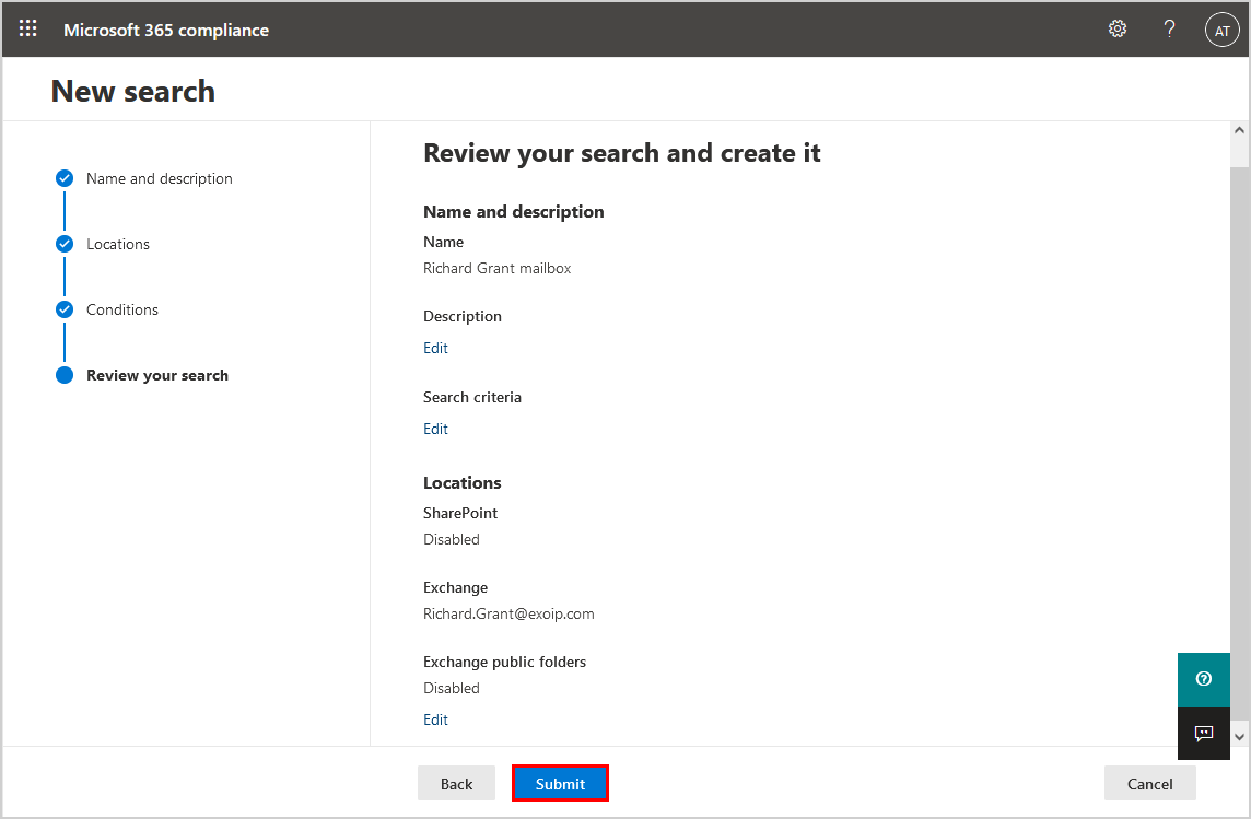 Review search and create