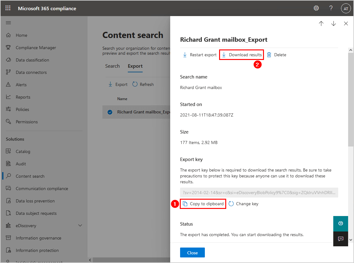 Copy export key to clipboard and download results