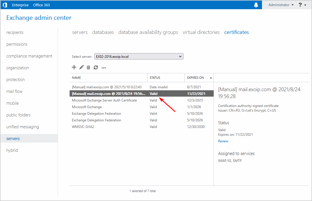 Exchange third-party certificate date valid
