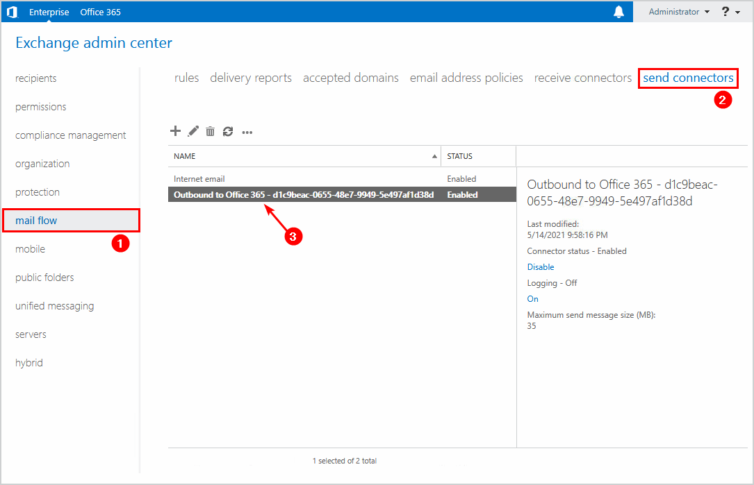 Copy send connector outbound to Office 365 name