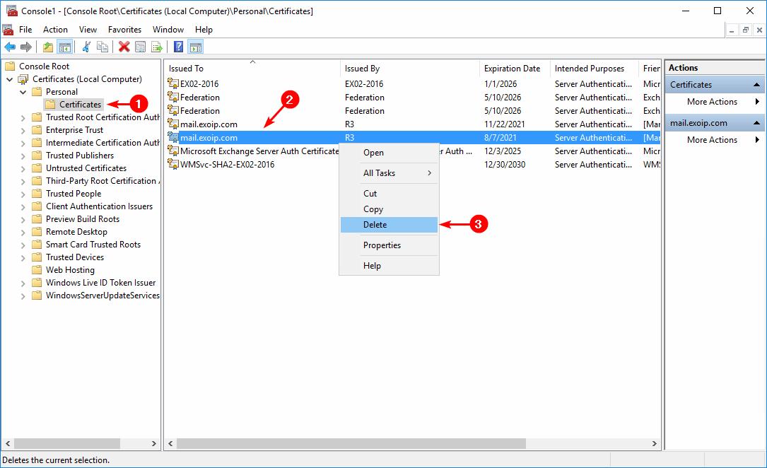 Delete expired certificate