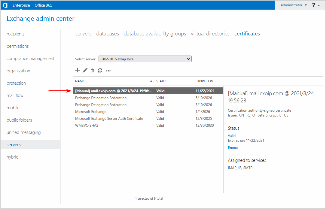 Only new certificate available in Exchange admin center certificates list
