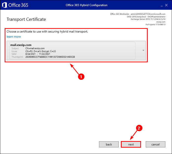 Select new certificate in Exchange Hybrid Configuration Wizard