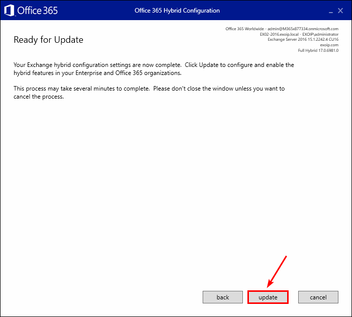 Office 365 Hybrid Configuration Wizard ready for update