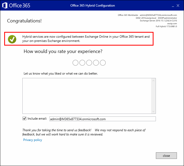 Office 365 Hybrid Configuration Wizard completed