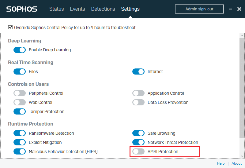 Disable AMSI protection in Sophos