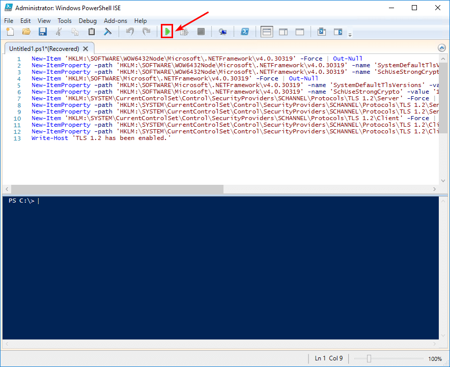 A fatal error occurred while creating a TLS client credential error PowerShell ISE