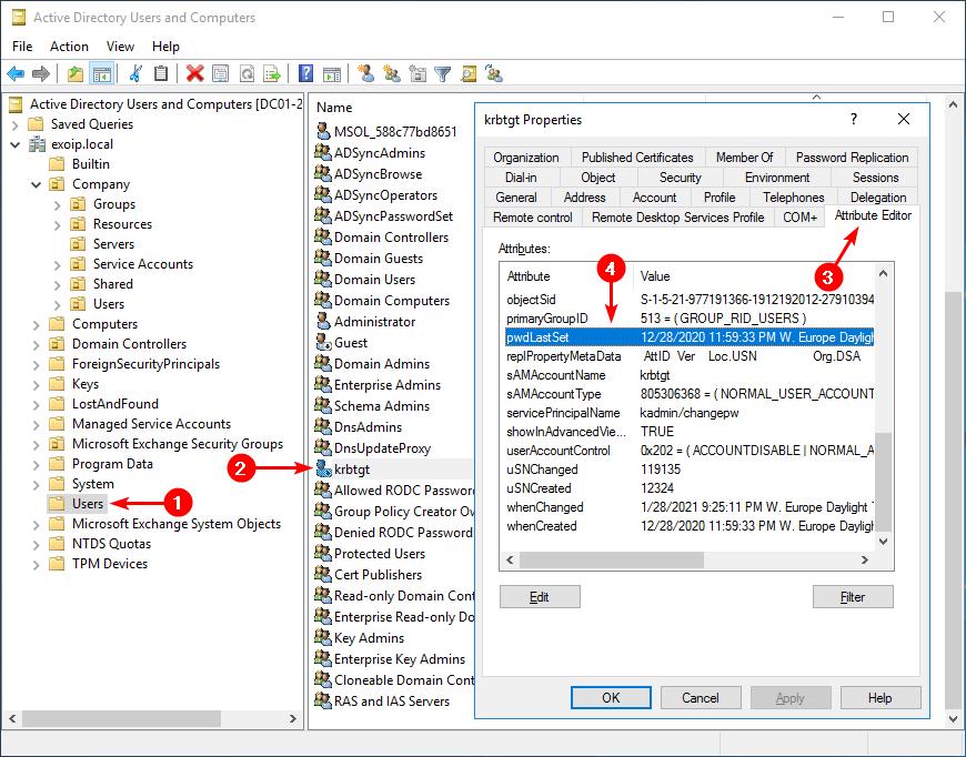 KRBTGT account password reset pwdLastSet