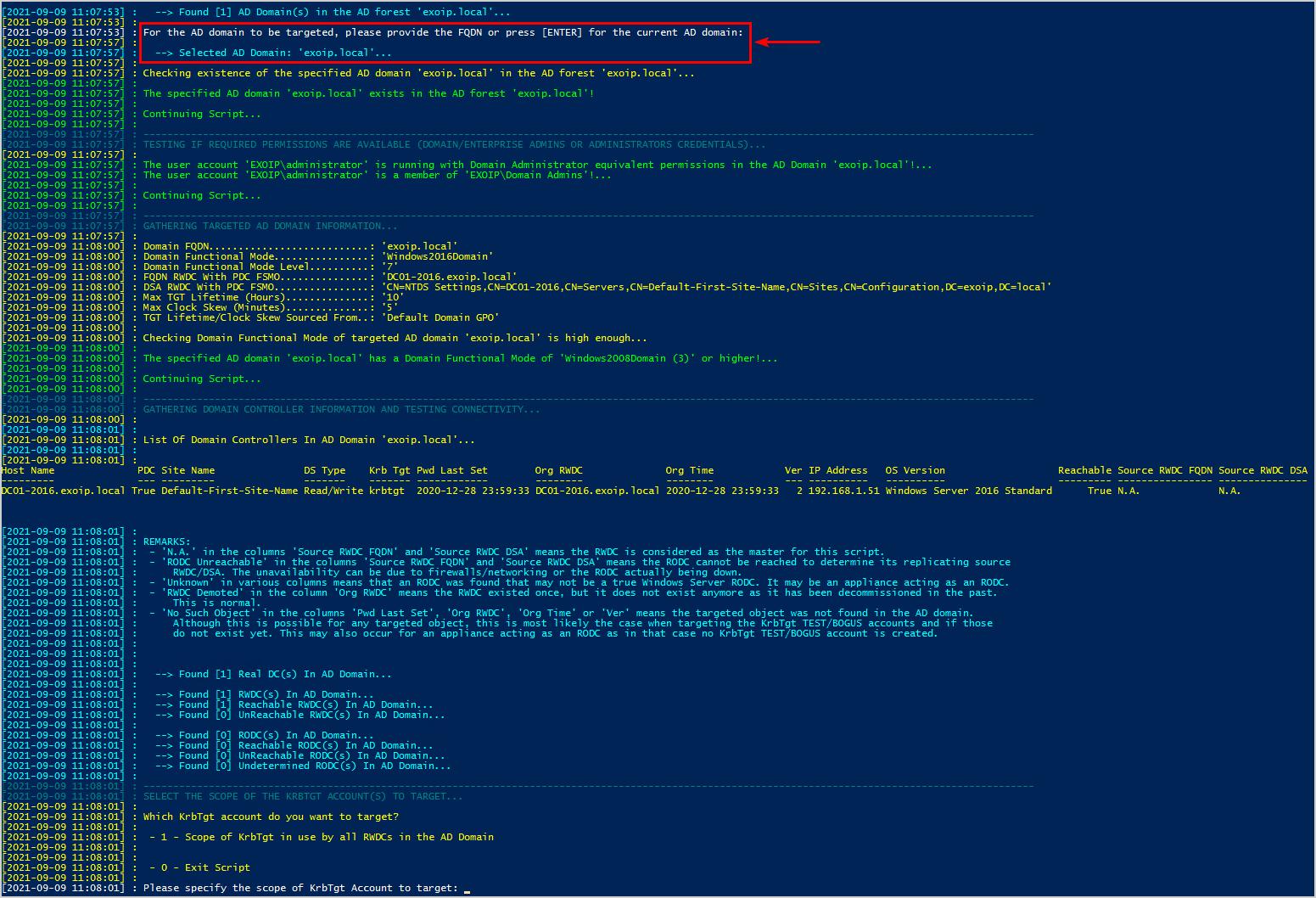 KRBTGT account password reset script step 4